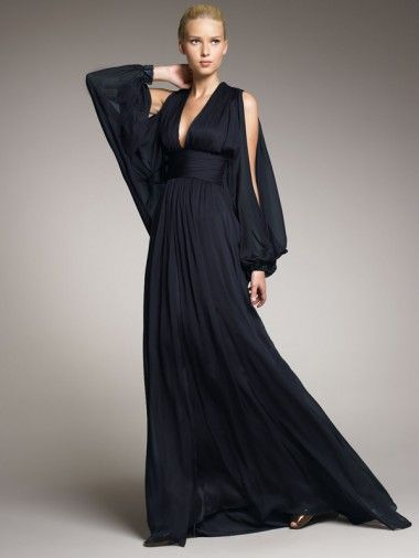 Deep V-Neck Black Chiffon Floor Length Long Sleeves Sexy Formal Dresses