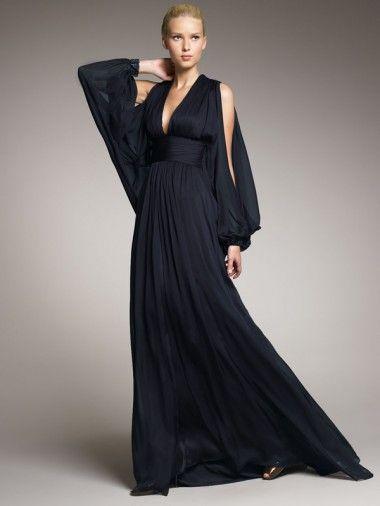 Deep V-Neck Black Chiffon Floor Length Long Sleeves Sexy Formal Dresses