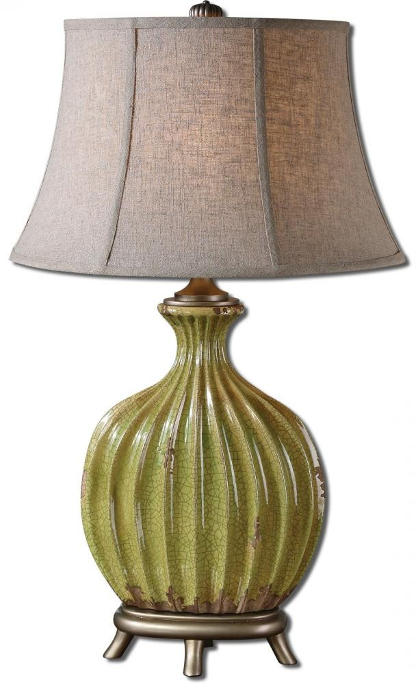 Uttermost 1 Light Heavily Crackled Aged Green Ceramic With Rust Distressing And Antiqued Silver