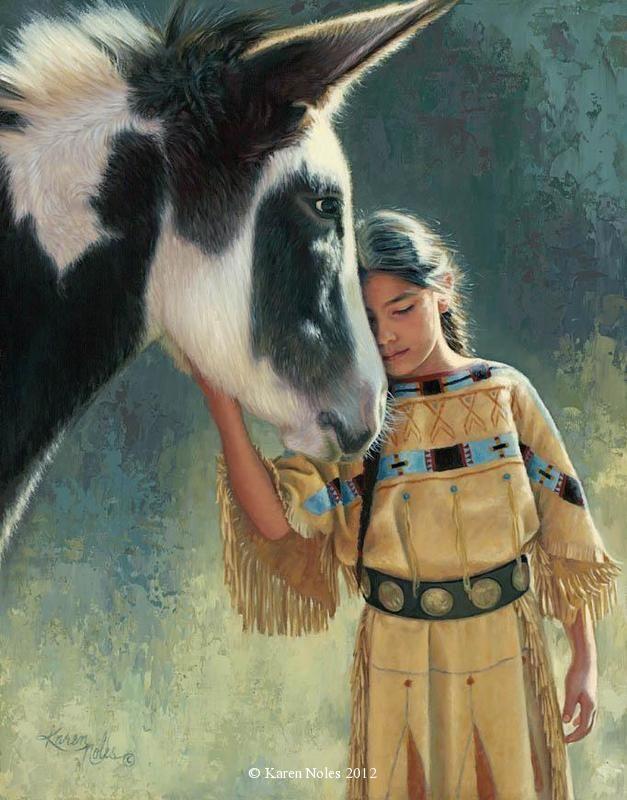 """""""Trust"""" Original Oil on Board 14"""" x 11"""" -Native American Paintings by Karen Noles"""