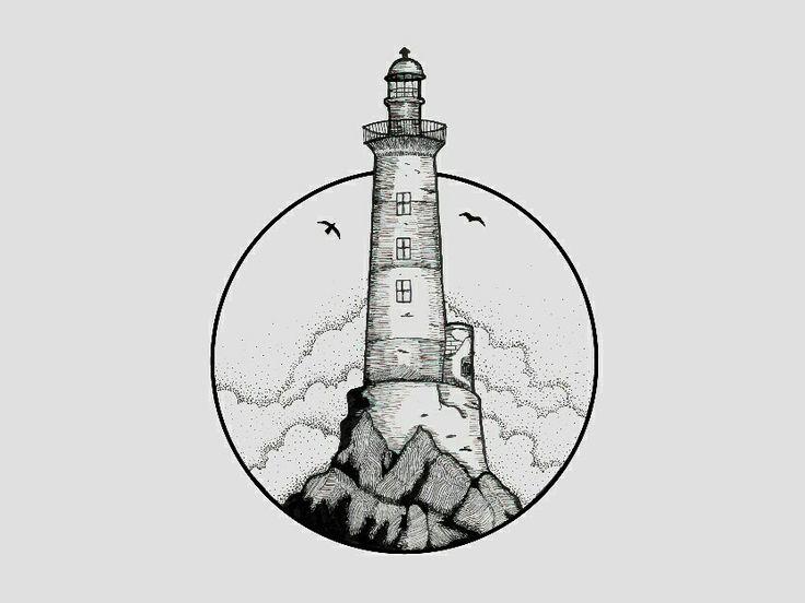Lighthouse Black & White Illustration