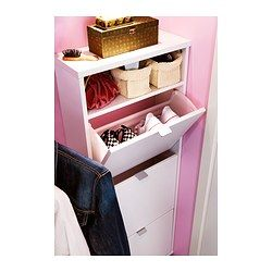"""SKÄR Shoe cabinet with 3 compartments - IKEA 59.99 7 1/2"""" deep.  Perfect for my laundry room"""