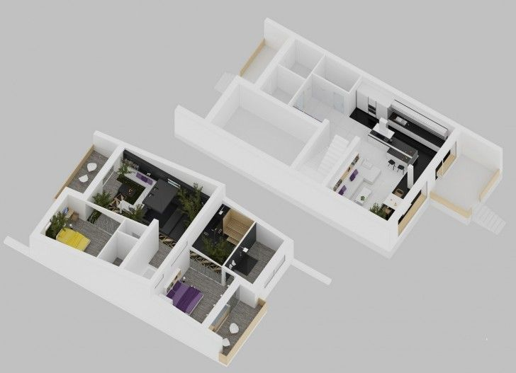 Interior Design 3d House Layout Plan Bracing With Plants Element For Those
