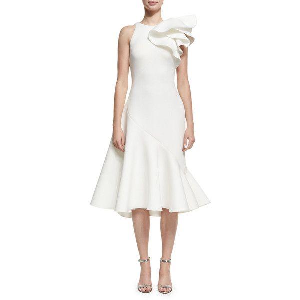 Jovani Full Skirt Neoprene Bow-Shoulder Cocktail Dress ($580) ❤ liked on Polyvore featuring dresses, dark green, asymmetrical dresses, dark green cocktail dress, white dress, asymmetrical cocktail dress and white peplum dresses