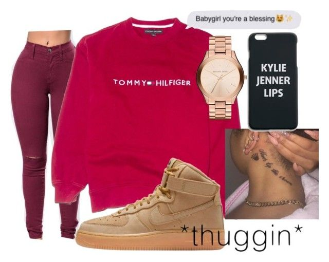 """I ain't for it"" by trapsoulbre ❤ liked on Polyvore featuring NIKE and Michael Kors"