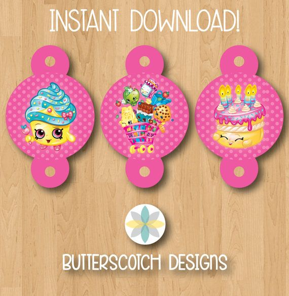 Shopkins Birthday Straw Toppers - INSTANT DOWNLOAD