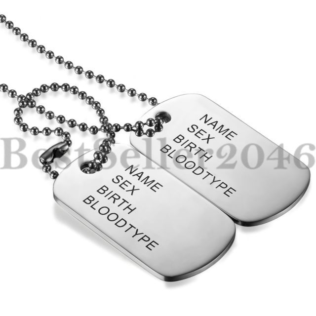 Mens Engraving Stainless Steel Army Id 2 Dog Tags Military Pendant