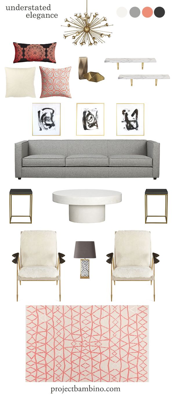 grey and coral living room