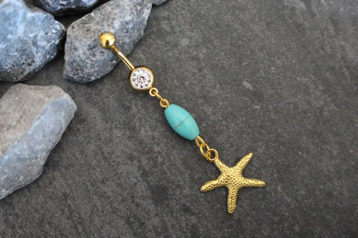 Starfish Belly Button Rings Gold, Star Navel Jewelry, Navel Ring, Belly Button Piercing, Turquoise Dangle Stars Star Boho Bohemian