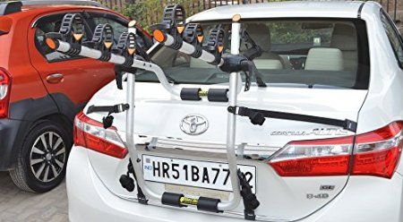 BikerZ Rear Mounted Car Bike Rack : Model TrunkZ - luminum 3 bicycle carrier sits perfectly on the back of your vehicle with 6 tensioning straps making it a perfect clip on universal Bike Rack.