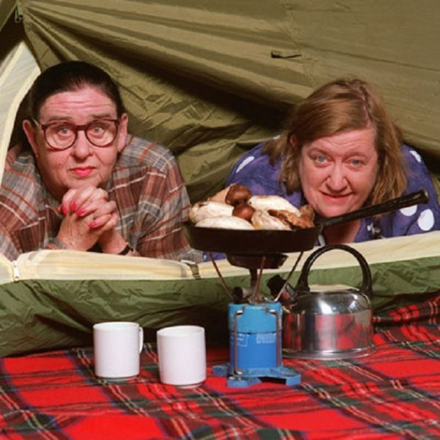 Food in the Wild. Two Fat Ladies: Series One, Episode Six. Location: Hawkhirst Scout Camp, Kielder Forest, Northumberland. The recipes were Muttachar; Shooter's Sandwich; Easy Onion Soup with Stilton and Croutons; Frittata with Tomatoes, Onions and Basil; and Trout from the Luau.