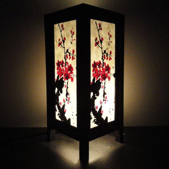Asian Oriental Japanese Sakura Tree Branch Cherry Blossom Art Bedside Table Lamp or Bedside Wood Paper Light Shades Furniture Home Decor. $15.97, via Etsy.