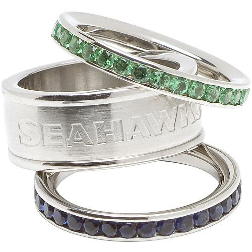 I WANT THIS SO MUCH!!! LogoArt Seattle Seahawks Crystal Stacked Ring Set of 3 -ESPN Shop