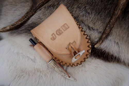 A Hudson Bay Possible Pouch Made for one of our lovely customers and personalised with their initials . Hand made Antler toggle @ Beaver Bushcraft.