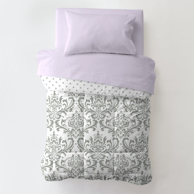 Lilac and Gray Traditions Damask Toddler Bedding #carouseldesigns