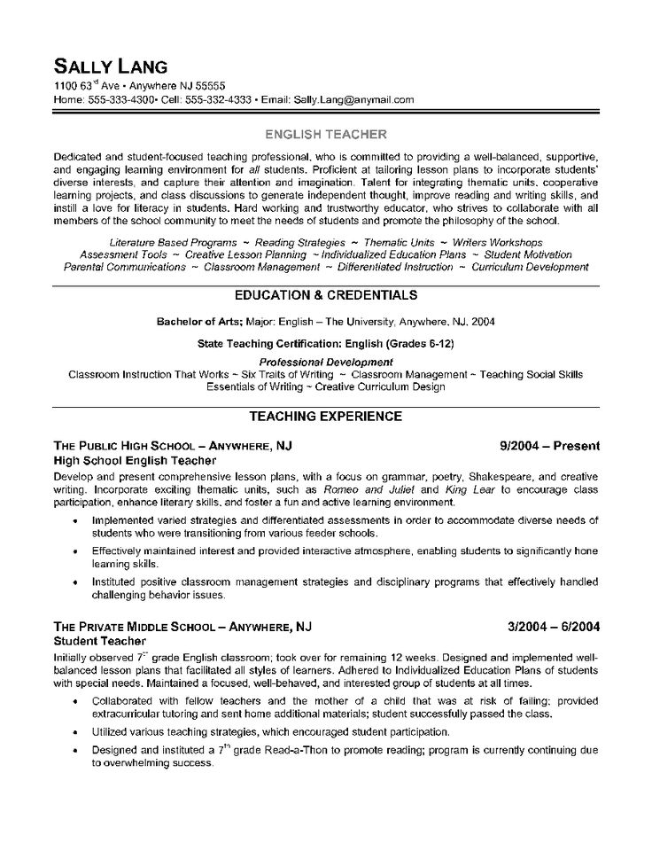 English Teacher Resume Example Teacher resume, Teaching