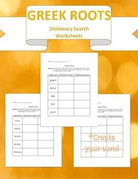 Greek Root Dictionary Search- 2 worksheets & Create your own   TpT
