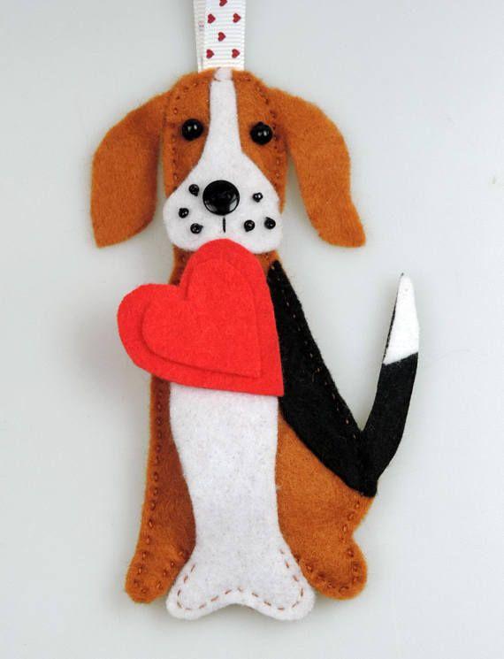 Beagle Dog Holding A Heart Valentines Day Handmade Felt Twig