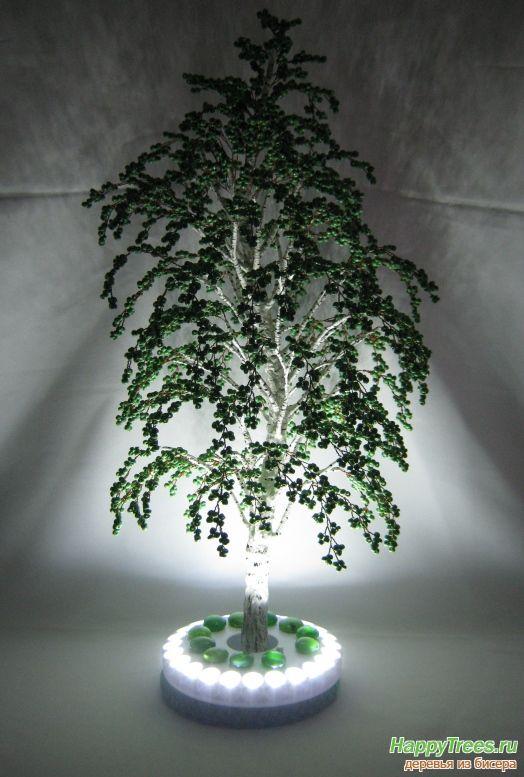 Дерево из бисера - Береза из бисера,Светильник.