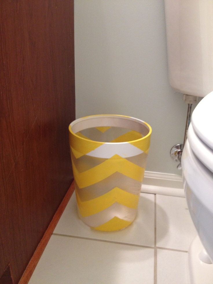 For My Daughters New Bathroom.. Chevron Strips On Translucent Wastebasket .