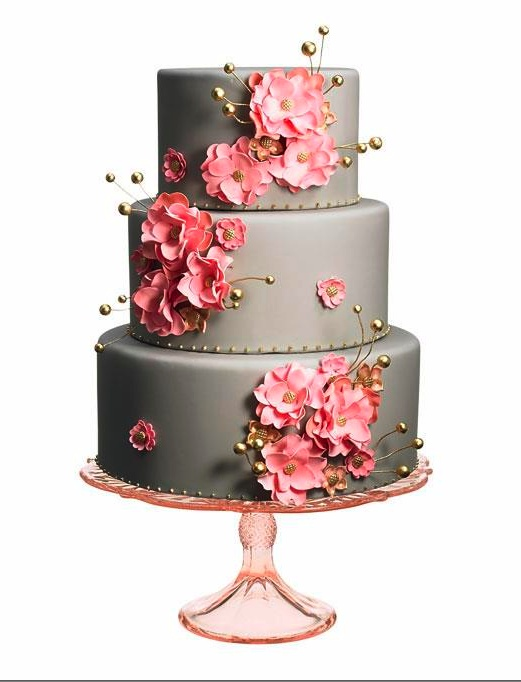 grey and pink wedding cakes grey wedding cake with pink and gold flowers cakes 14980