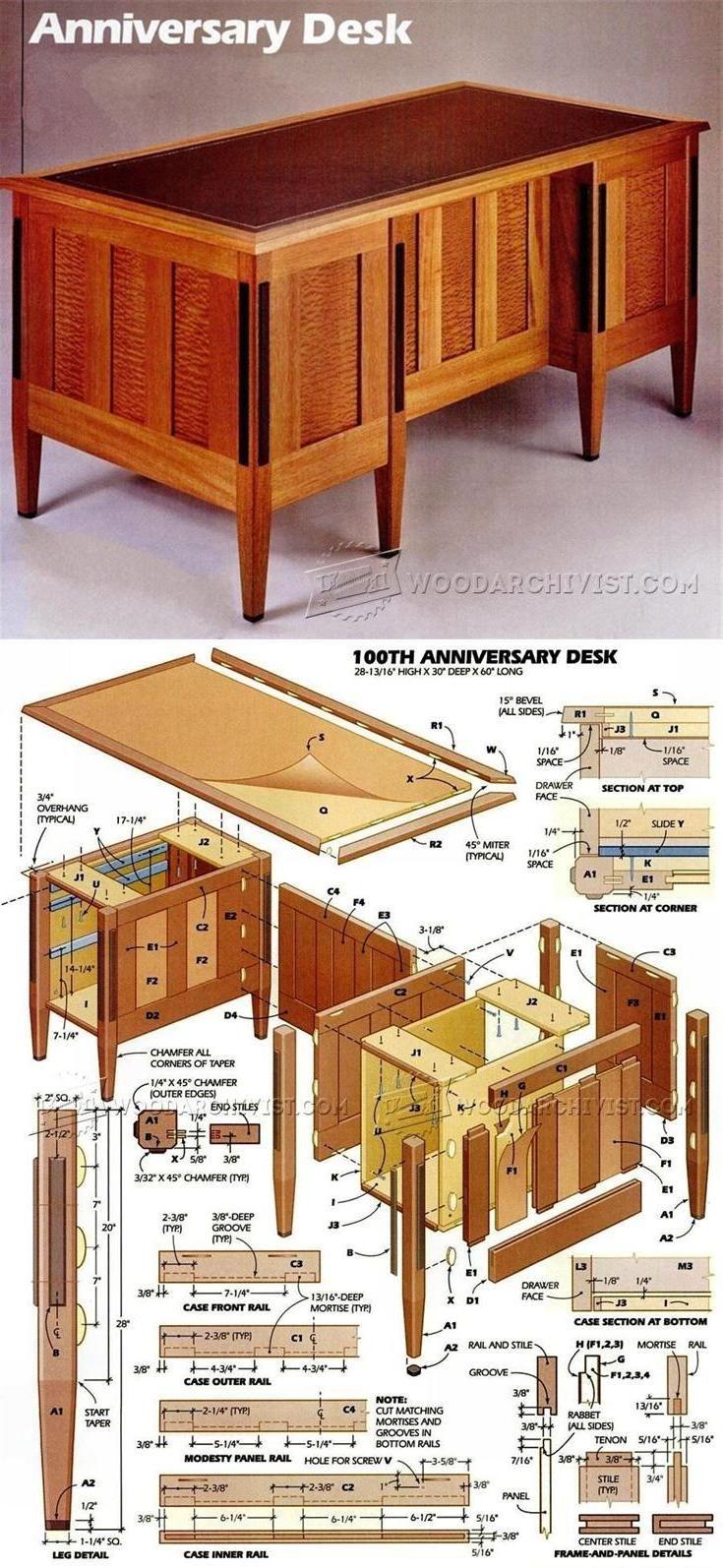 Anniversary Desk Plans - Furniture Plans and Projects | WoodArchivist.com