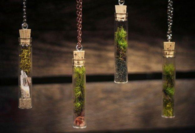 Test Tube Terrarium Necklace | 14 DIY Plant Terrarium Ideas | Mini Terrariums You Can Make Yourself see more at http://diyready.com/14-diy-plant-terrarium-ideas-mini-terrariums-you-can-make-yourself