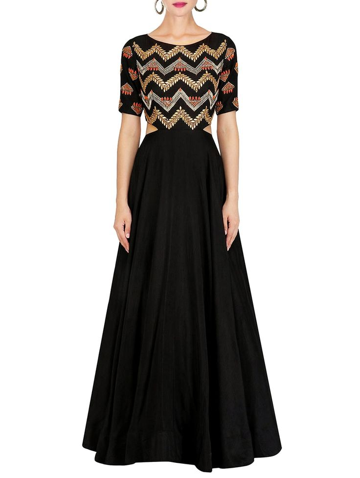 Greenvilla #Black Dupion Fit & Flare #Gown #Cutout #PartyOutfit