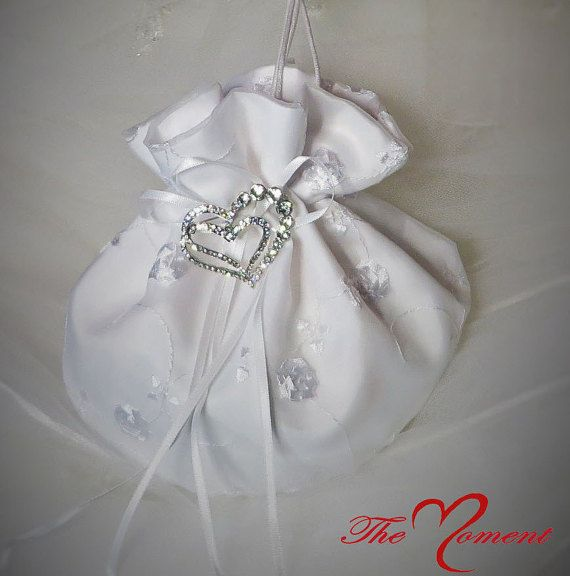White or Ivory Dollar Dance Bag/Bridal Purse for Wedding or Prom *CUSTOMIZE WITH ACCENT RIBBON COLOR* by- TheMomentWeddingBoutique