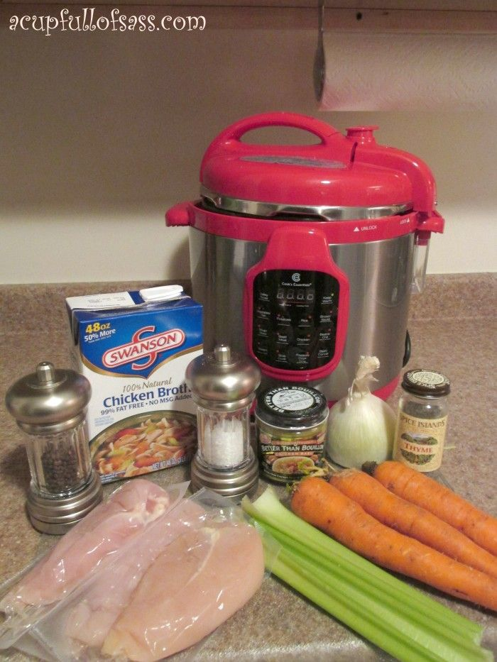 Homemade Chicken Noodle Soup in a pressure cooker (insta pot)