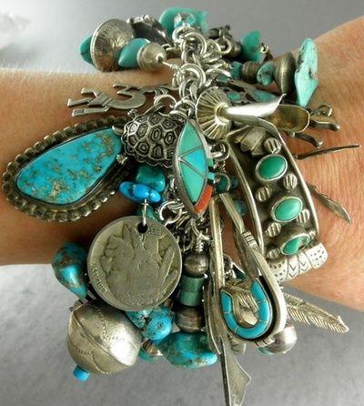 My Bohemian Life  Serafini Amelia  Gypsy Boho Charm Bracelet-Turquoise-Silver