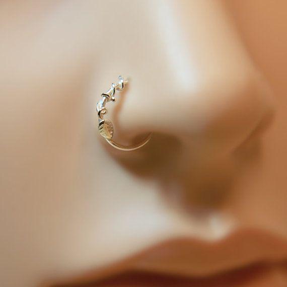 Nose Ring Leaf floral motif Customize Sterling silver /nose studs, nose rings, nose hoops, 16 gauge,18 gauge,20 gauge,21gauge,nose piercing,