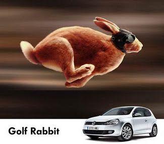 el coche golf rabbit también ha jugado con su significado y ha representado un conejo que es lo que significa y también q es igual de rápido