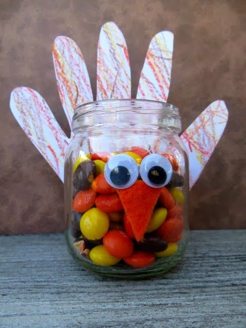 Toddler Hand Turkey Candy Jar {Kids Craft Contributor} - Sugar Bee Crafts