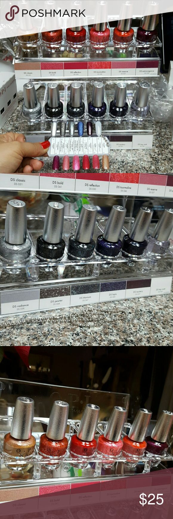 12 OPI DESIGNER SERIES WITH DIAMOND Dust Lacquers are formulated with diamond Dust  All 12 colors for $25 O.P.I. Makeup