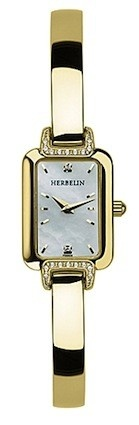 Michel Herbelin Ladies Mother Of Pearl Dial Gold Salambo  Bangle Watch 17404/18XBP59