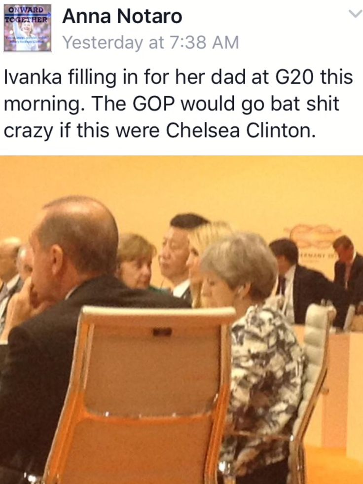 "Republican Hypocrites would be screaming Bloody Murder if that was Chelsea Clinton!! Then again, that would Never happen because Hillary Clinton wouldn't need her daughter to ""sit in"" for her.....She's Capable, Qualified and knows her Shit!!"