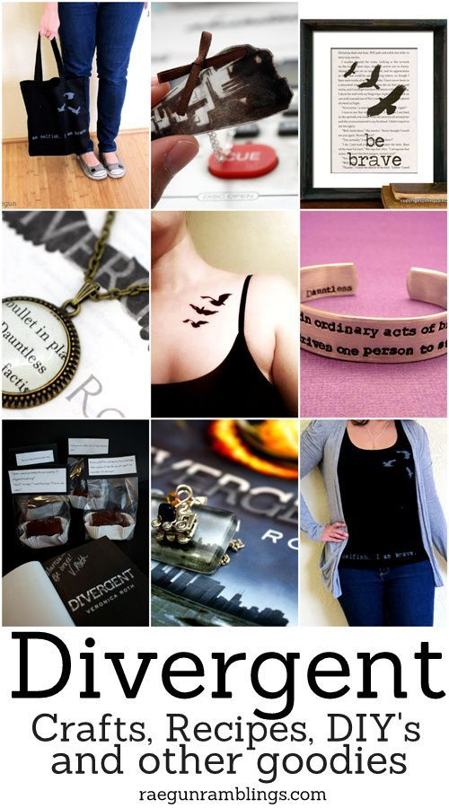 Great list of Divergent DIY's, recipes, crafts, products and more at Rae Gun Ramblings #divergent #yalit #veronicaroth
