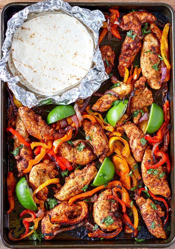 These Sheet Pan Chicken Fajitas are a snap to make and they are so delicious! Colorful bell peppers, red onions and chicken tenderssimply tossed together with olive oil and spices. Squeeze fresh lime juice over them after cooking, sprinkle with fresh cilantro, wrap them in a warm tortilla and that's it! I like soft flour …