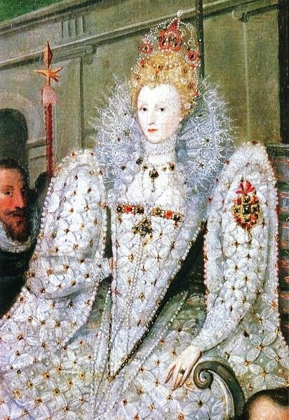 1600 Queen Elizabeth 1533-1603 Detail from the Procession Portrait attr Robert Peake the Elder