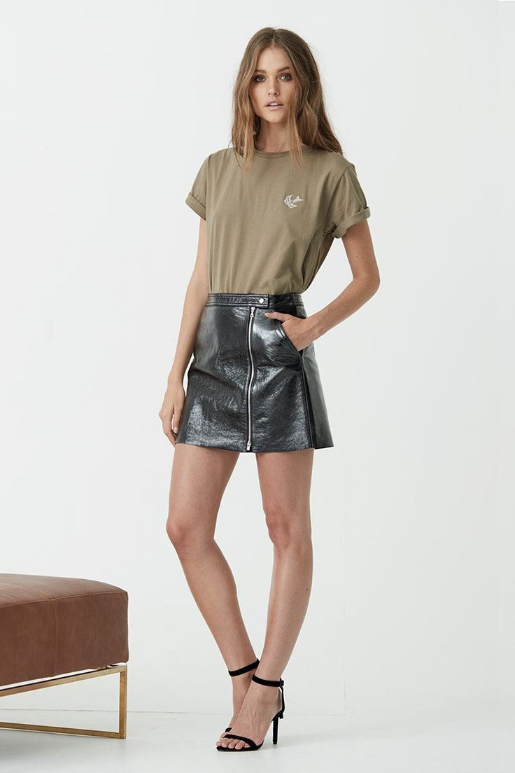 Maurie & Eve - Yeah Go Ahead Patent Leather Skirt Black
