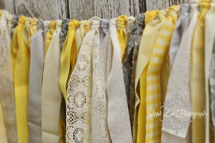 Yellow and Grey Fabric Strip Banner, Photography Banner, Bridal Shower Banner, Wedding Decor, Baby Shower Banner, Rag Tie Garland by PhotograMomProps on Etsy