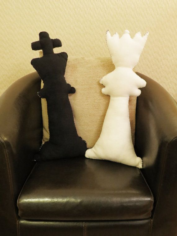 Chess King and Queen - Hand Stitched Cushions. EACH CUSHION MEASURES APPROX. 64cm x 28cm.