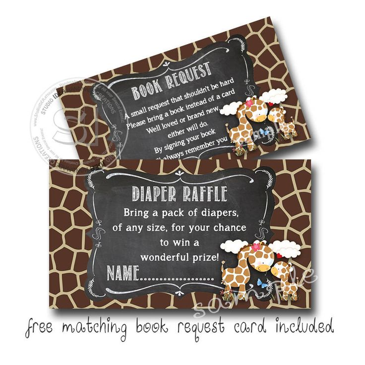 """INSTANT DOWNLOAD - Diaper Raffle Giraffe Theme 3.5""""X2"""" with FREE matching thee Book Request card Giraffe theme-Digital file by StudioIdea on Etsy"""