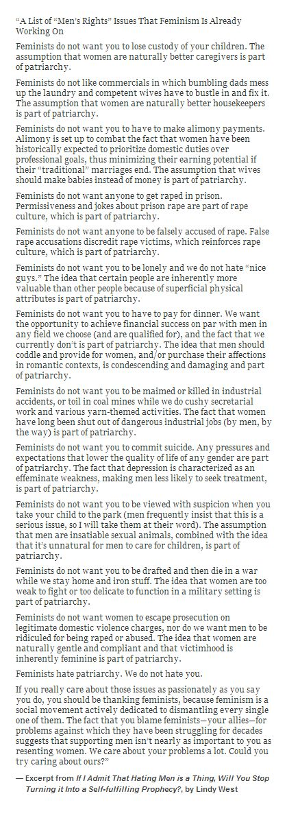 Hey, MRAs - here's a list of 'mens issues' that feminists are working to fix. We care about men's problems. Is it too much to ask that you try caring about ours?