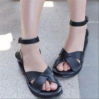 Лето натуральная кожа свободного покроя плоские каблуки клинья женские сандалии платформа большой размер 41 - 43 женская Большой размер обувь женские черные