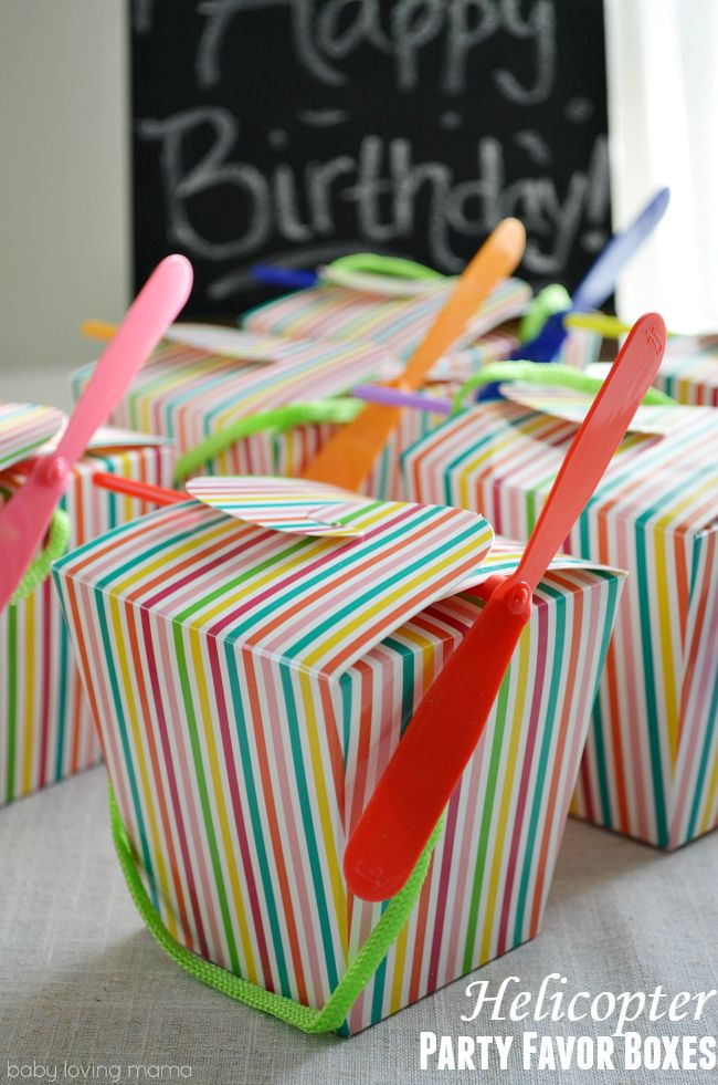Rainbow Helicopter Party Favor Boxes: Fill these fun party boxes will the suggested items or other snacks/small toys for your next celebration. These rainbow boxes are gender neutral and super fun to pass out to party guests!