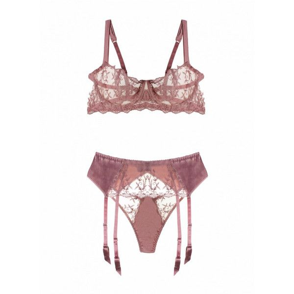 Sofia Balcony Bra, Thong, Suspender Belt and Stockings (44 AUD) ❤ liked on Polyvore featuring intimates, bras, lacy bras, lace suspender belt, lace balconette bra, balcony bra and lace garter belt
