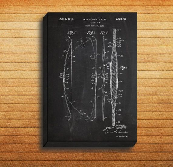 CANVAS  Archery Bow Patent Archery Bow Poster by STANLEYprintHOUSE