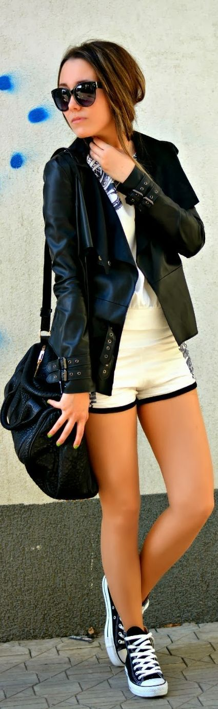 Casual Sporty Outfit by J'adore Fashion. Need those shoes, and the leather!